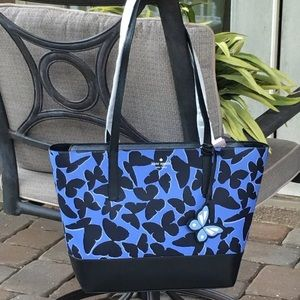 KATE SPADE ADLEY BUTTERFLY LARGE TOTE BLUE BLACK